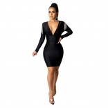 Black Long Sleeve Deep V-Neck Rainstones Tassels Bodycon Mini Dress