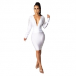 White Long Sleeve Deep V-Neck Rainstones Tassels Bodycon Mini Dress
