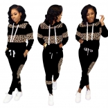 Black Leopard Long Sleeve Printed 2PCS Women Catsuit Dress With Hat