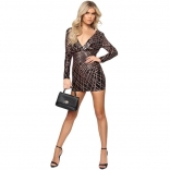 Black Long Sleeve Low-cut V-Neck Sexy Sequins Dress