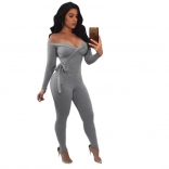 Light Grey Long Sleeve Low-Cut V-Neck Cotton Women Sexy Bodycon Jumpsuit