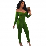 Green Long Sleeve Low-Cut V-Neck Cotton Women Sexy Bodycon Jumpsuit