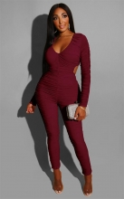 Red Long Sleeve Deep V-Neck Hollow-out Sexy Jumpsuit