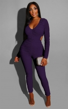 Purple Long Sleeve Deep V-Neck Hollow-out Sexy Jumpsuit