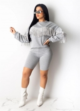 Grey Long Sleeve Tassels Bodycon Women Pant Sets