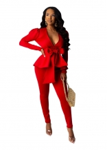 Red Long Sleeve Deep V-Neck Belted Sexy OL Dress