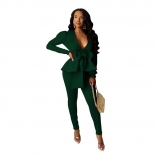 Green Long Sleeve Deep V-Neck Belted Sexy OL Dress