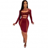 Red Long Sleeve Mesh Hollow-out Bandage Dress