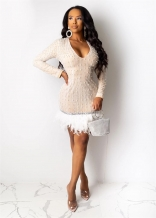 Beige Long Sleeve V-Neck Pearl Sequins Women Mini Dress