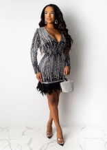 Black Long Sleeve V-Neck Pearl Sequins Women Mini Dress