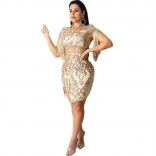 Golden Tassels Sleeve Bodycons Sequins Mini Dress