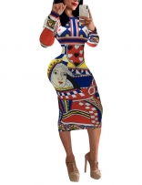 Long Sleeve Women Printed Bodycon Midi Dress