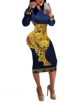 Yellow Long Sleeve Women Printed Bodycon Midi Dress
