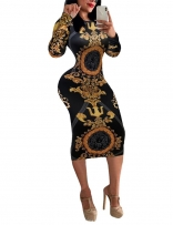 Black Long Sleeve Women Printed Bodycon Midi Dress