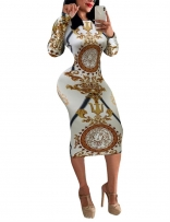 White Long Sleeve Women Printed Bodycon Midi Dress