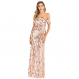 Pink Off-Shoulder Sleeveless Sequins Strech Women Evening Dress