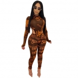 Brown Long Sleeve Printed Jumpsuit With Pant