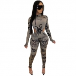 Grey Long Sleeve Printed Jumpsuit With Pant