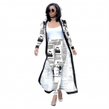 White Long Sleeve Printed Belted Catsuit Dress