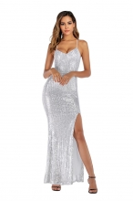White Halter Low-cut V-Neck Sequins Slit Women Long Dress