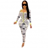 Yellow Printed Long Sleeve Paper Sexy Jumpsuit