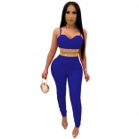 Blue Halter V-Neck Rainstones Bodycons 2PCS Sexy Jumpsuit