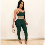Green Halter V-Neck Rainstones Bodycons 2PCS Sexy Jumpsuit
