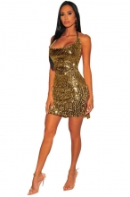 Yellow Halter Sleeveless Low-Cut Sexy Sequins Party Dress