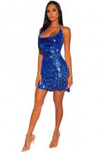 Blue Halter Sleeveless Low-Cut Sexy Sequins Party Dress