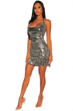 Silver Halter Sleeveless Low-Cut Sexy Sequins Party Dress