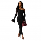 Black Long Sleeve Off-shoulder Bodycons Sexy Midi Dress