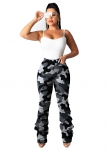 Grey Fashion Women Jeans Printed Camouflage Trousers