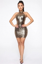 Black Halter Neck Sequins Bodycons Mini Dress