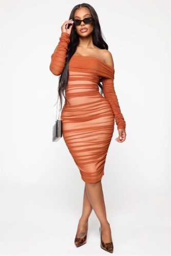 Red Long Sleeve Off-Shoulder Mesh Lining Sexy Midi Dress