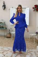 Blue Long Sleeve Fashion Tops Sequins Women Long Dress