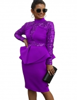 Purple Long Sleeve Sequins Foral Women Sexy Evening Dress