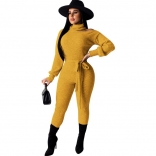 Yellow Long Sleeve Cut-off Shoulder Cotton Sexy Jumpsuit