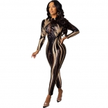 Black Long Sleeve Mesh Sequins Bodycons Sexy Jumpsuit