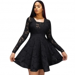 Black Long Sleeve Lace Hollow-out Sexy Skirt
