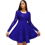 Blue Long Sleeve Lace Hollow-out Sexy Skirt