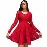 Red Long Sleeve Lace Hollow-out Sexy Skirt