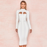 White Long Sleeve Cultivate Body Midi Dress