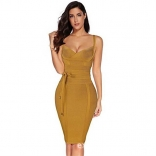 Yellow Halter V-Neck Bandage Sexy Cocktail Party Dress