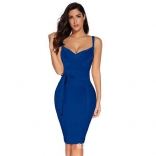Blue Halter V-Neck Bandage Sexy Cocktail Party Dress