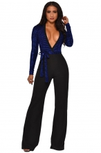 Blue Long Sleeve Deep V-Neck Sequins Belts Women Jumpsuit