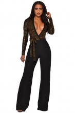 Golden Long Sleeve Deep V-Neck Sequins Belts Women Jumpsuit