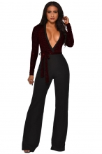 Red Long Sleeve Deep V-Neck Sequins Belts Women Jumpsuit