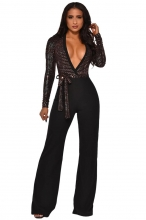 Silver Long Sleeve Deep V-Neck Sequins Belts Women Jumpsuit