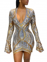 Long Sleeve Deep V-Neck Sequins Sexy Mini Dress