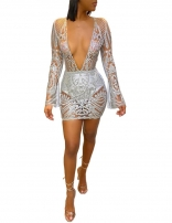 Silver Long Sleeve Deep V-Neck Sequins Mini Dress